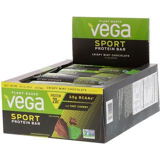 Vega, Sport, Protein Bar, Crispy Mint Chocolate, 12 Bars, 2.5 oz (70 g) Each