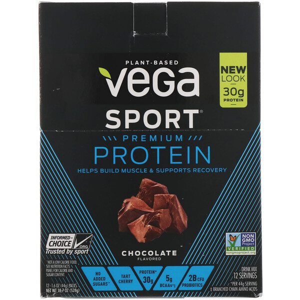 Vega, Protein, Chocolate, 12 Pack, 1.6 oz (44 g) Each