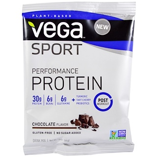 Vega, Sport, Performance Protein Drink Mix, Chocolate Flavor, 1.6 oz (44 g)