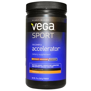 Vega, スポーツ、リカバリーアクセラレーター、 パウダー、 トロピカルフレーバー、 19オンス (540 g)