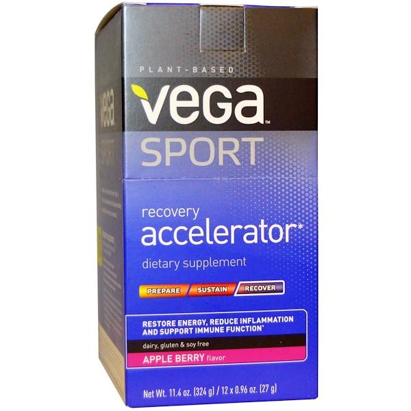 Vega, Спортпит, ускоритель восстановления, вкус яблоко-ягоды, 12 пакетиков по 0,96 унций (27 г) (Discontinued Item)
