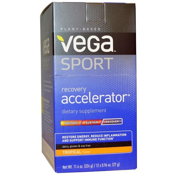 Vega, Спортпит, ускоритель восстановления, тропический аромат, 12 пакетиков по 0,96 унций (27 г) (Discontinued Item)