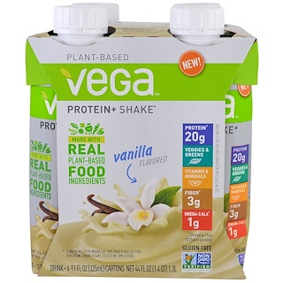 Vega, Protein + Shake, Vanilla Flavored, 4 Cartons, 11 oz (325 ml) Each