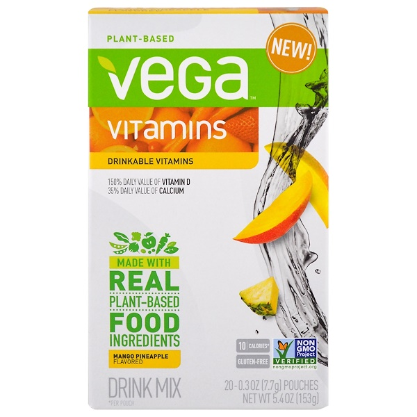 Vega, Drinkable Vitamins, Mango Pineapple, 20 Pouches, 0.3 oz (7.7 g) Each (Discontinued Item)