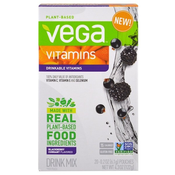 Vega, Drinkable Vitamins, Blackberry Currant, 20 Pouches, 0.2 oz (6.1 g) Each (Discontinued Item)