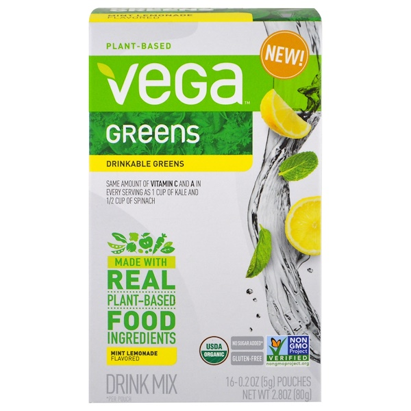 Vega, Drinkable Greens, Mint Lemonade, 16 Pouches, 0.2 oz (5 g) Each (Discontinued Item)
