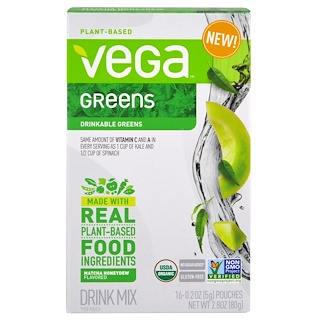 Vega, Vega Drink Mix, Greens, Matcha Honeydew Flavored, 16 Pouches, 0.2 oz (5 g) Each