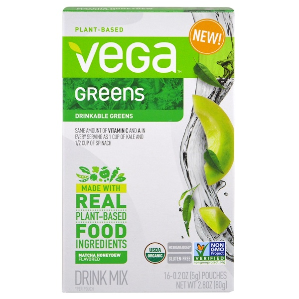 Vega, Vega Drink Mix, Greens, Matcha Honeydew Flavored, 16 Pouches, 0.2 oz (5 g) Each (Discontinued Item)