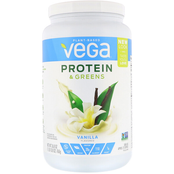 Vega, Protein & Greens, Vanilla Flavored, 1.67 lbs (760 g)