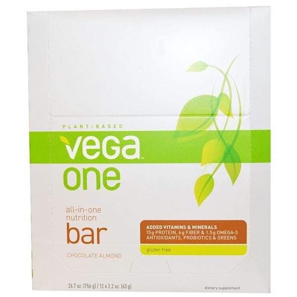 Vega, Vega One, All-in-One Nutrition Bar, Chocolate Almond, 12 Bars, 2.2 oz (63 g) Each (Discontinued Item)