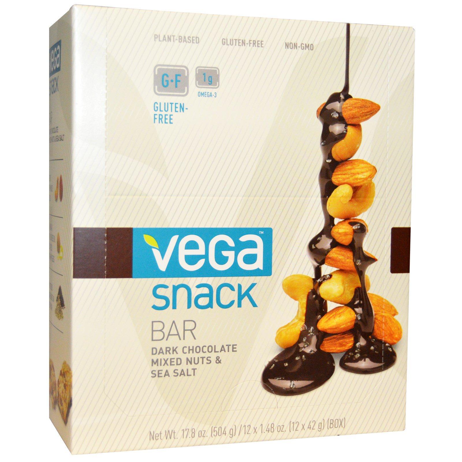 Vega, Энергетический батончик, черный шоколад, смесь орехов и морской соли, 12 батончиков, 1.48 унций (42 г) каждый