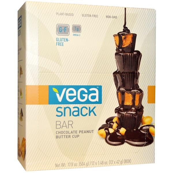 Vega, Snack Bar, Шоколадные кексы с арахисовым маслом, 12 батончиков, 1,48 унции (42 г) каждый (Discontinued Item)