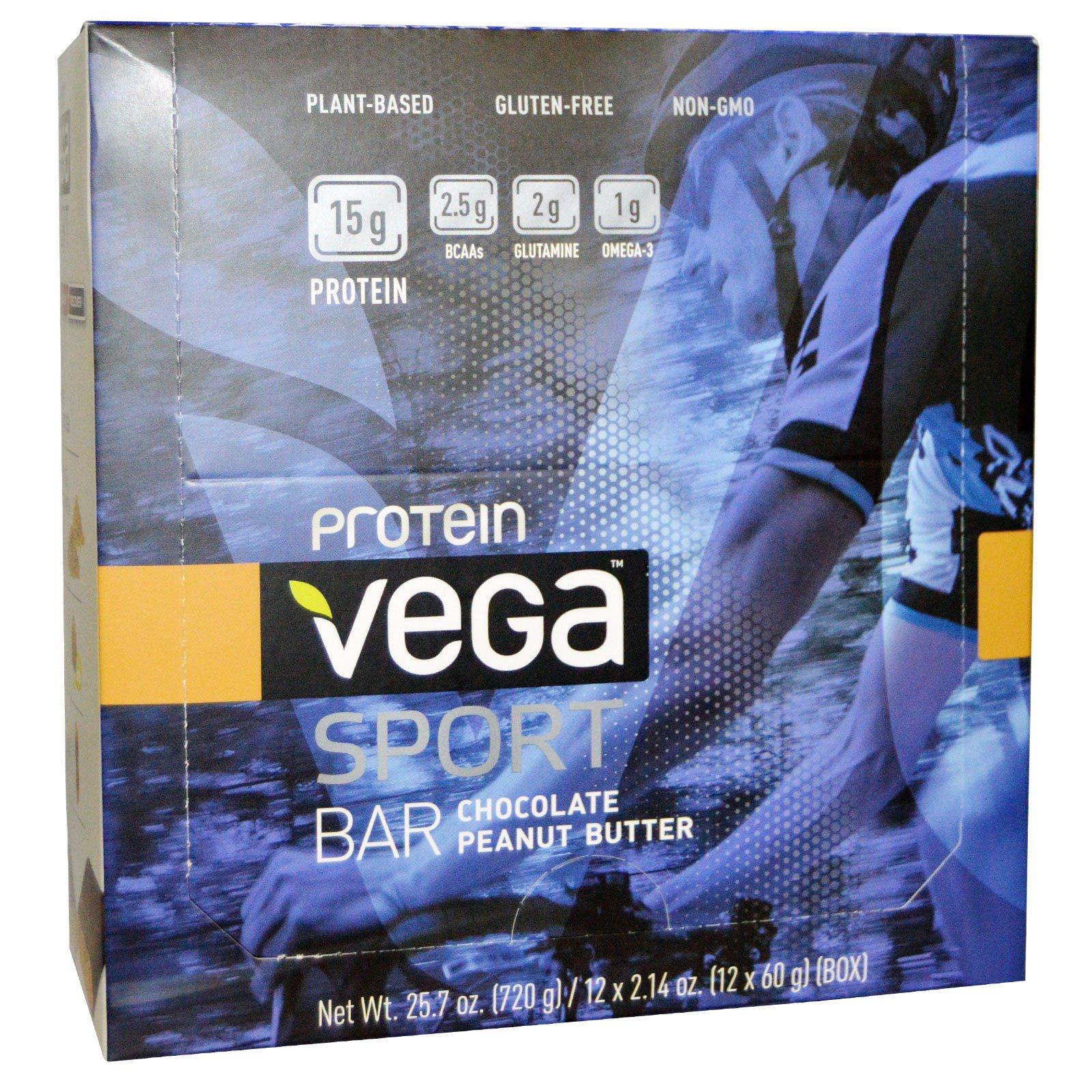 Vega, Спортивный белковый батончик со вкусом шоколада и арахисового масла, 12 батончиков по 2,14 унций (60 г)