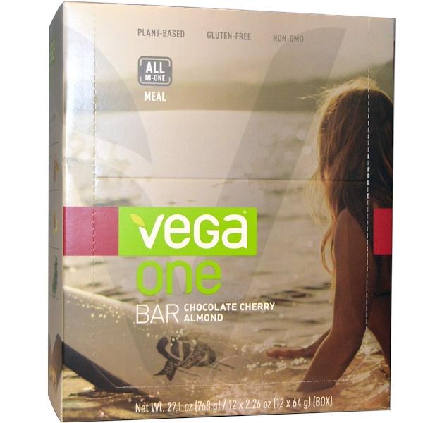 Vega, スナックバー, クランベリー・アーモンド, 12 本, 各 1.48 オンス (42 g) (Discontinued Item)