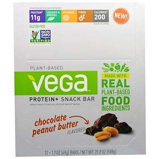 Vega, Plant-Based Protein and Snack Bar, Chocolate Peanut Butter, 12 Bars, 1.7 oz (49 g) Each