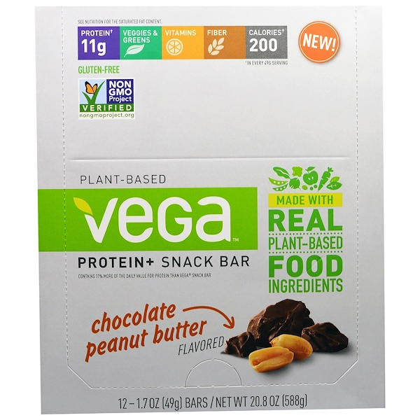 Vega, Plant-Based Protein + Snack Bar, Chocolate Peanut Butter 12-1.7 oz (49 g) bars