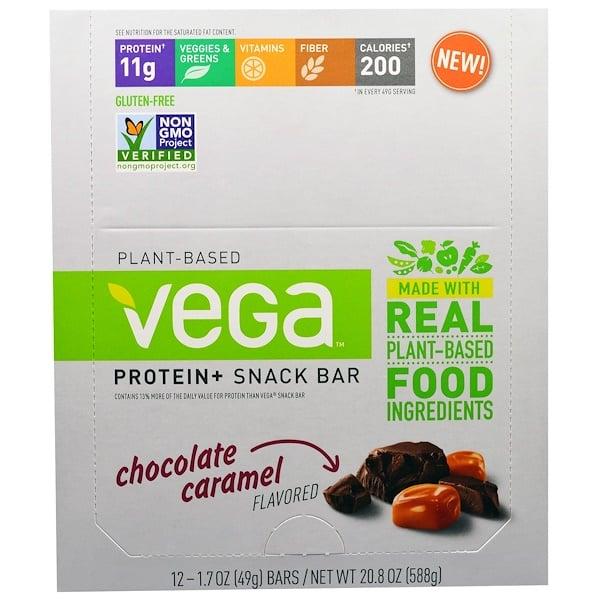 Vega, Snack Bar, Chocolate Caramel, 12 Bars, 1.48 oz (42 g) Each (Discontinued Item)