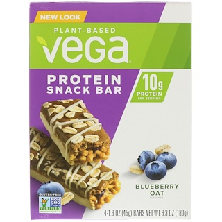 Vega, Protein Snack Bar, Blueberry Oat, 4 Bars, 1.6 oz (45 g) Each
