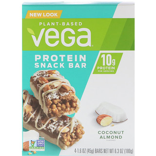 Vega, Protein Snack Bar, Coconut Almond, 4 Bars, 1.6 oz (45 g) Each