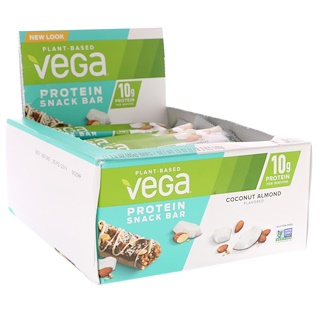 Vega, Protein Snack Bar, Coconut Almond, 12 Bars, 1.6 oz (45 g) Each
