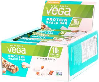 Vega, Протеиновый батончик, кокос и миндаль, 12 баточников, 1.6 унц. (45 г) каждый
