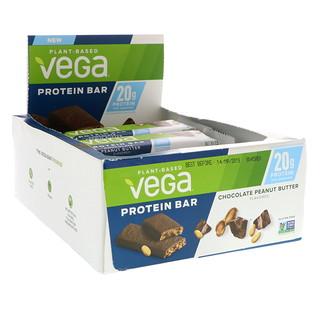Vega, Протеиновый батончик, шоколад и арахисовое масло, 12 баточников, 2.5 унцю (70 г) каждый