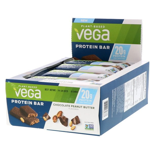 Vega, Protein Bar, Chocolate Peanut Butter, 12 Bars, 2.5 oz (70 g) Each