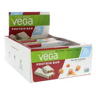 Vega, Протеиновый бар, соленая карамель, 12 батончиков, 2,5 унции (70 г)