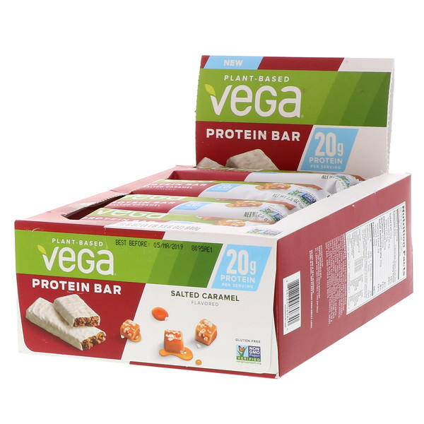 Vega, Protein Bar, Salted Caramel, 12 Bars, 2.5 oz (70 g) Each