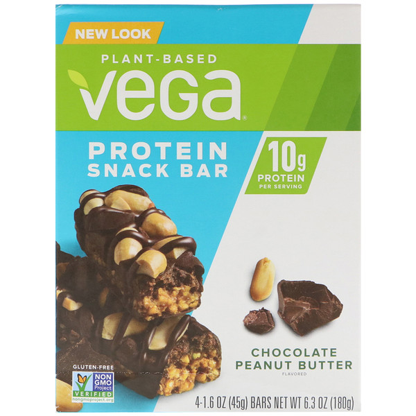 Vega, Protein Snack Bar, Chocolate Peanut Butter, 4 Bars, 1.6 oz (45 g) Each (Discontinued Item)