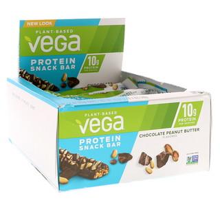 Vega, Протеиновый батончик для перекуса, Шоколад и арахисовое масло, 12 баточников, 1,6 унц. (45 г) каждый