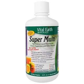 Vital Earth Minerals, Super Multi, Natural Passion Fruit Tangerine Flavor, 32 fl oz (946 ml)
