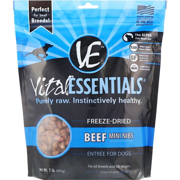Vital Essentials, Freeze-Dried Entree For Dogs, Beef Mini Nibs, 1 lb. (453 g) (Discontinued Item)