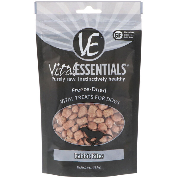 Vital Essentials, Freeze-Dried Vital Treats For Dogs, Rabbit Bites, 2.0 oz (56.7 g)