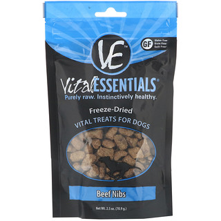 Vital Essentials, Freeze-Dried Treats For Dogs, Beef Nibs, 2.5 oz (70.9 g)