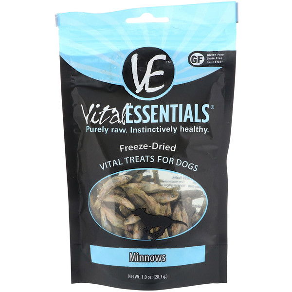 Vital Essentials, Freeze-Dried Treats For Dogs, Minnows, 1.0 oz (28.3 g)