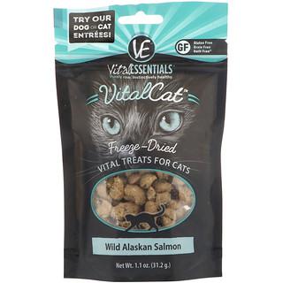 Vital Essentials, Vital Cat, Freeze-Dried Treats For Cats, Wild Alaskan Salmon, 1.1 oz (31.2 g)