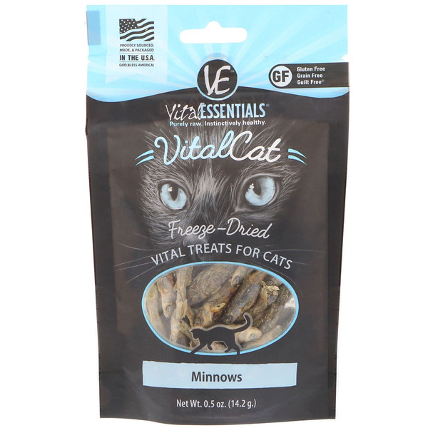 Vital Essentials, Vital Cat, Freeze-Dried Treats For Cats, Minnows, 0.5 oz (14.2 g)