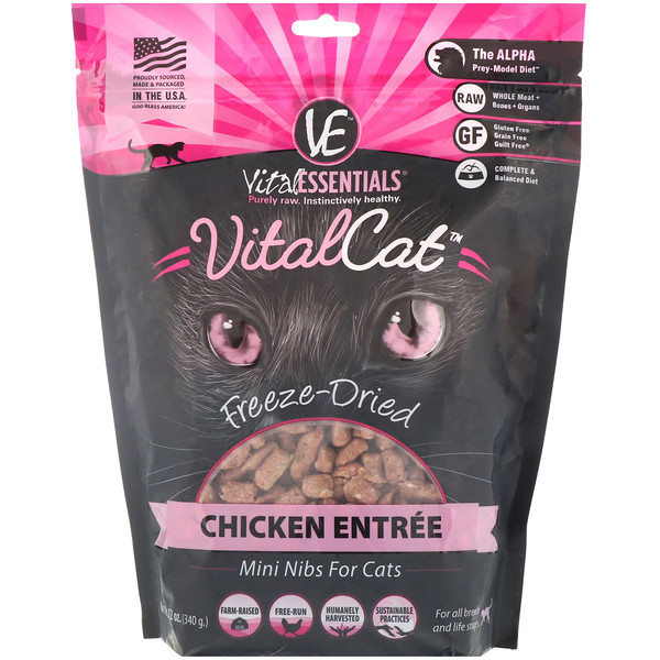 Vital Essentials, Vital Cat, Freeze-Dried Mini Nibs For Cats, Chicken Entree, 12 oz (340 g) (Discontinued Item)