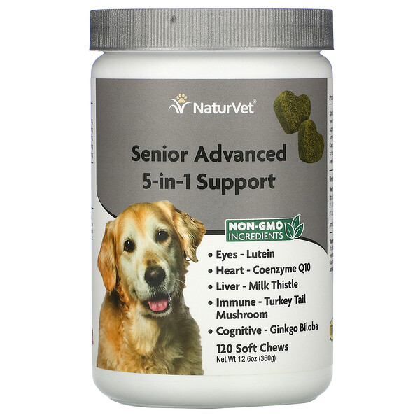 NaturVet, Senior Advanced 5-in-1 Support, 120 Soft Chews, 12.6 oz (360 g)