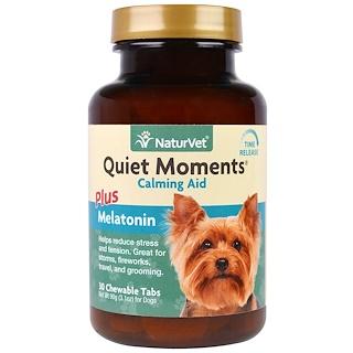 NaturVet, Quiet Moments Plus Melatonin, Calming Aid, For Dogs, 30 Chewable Tabs, 3.1 oz (90 g)