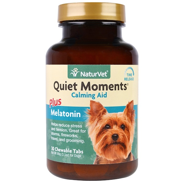 NaturVet, Quiet Moments Plus Melatonin, Calming Aid, For Dogs, 30 Chewable Tabs, 3.1 oz (90 g) (Discontinued Item)