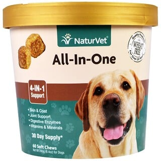 NaturVet, All-In-One, 4-In-1 Support, 60 Soft Chews, 8.4 oz. (240 g)