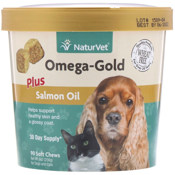 Omega-Gold, Plus Salmon Oil, Masticables con omega para perros y gatos, 90 masticables