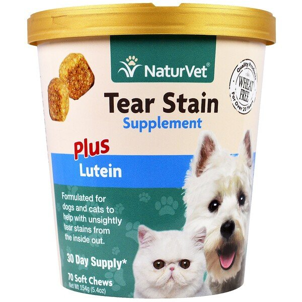 NaturVet, Tear Stain for Dogs & Cats, Plus Lutein, 70 Soft Chews, 5.4 oz (154 g)