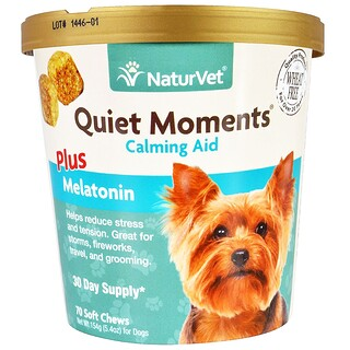 NaturVet, Quiet Moments, Calming Aid Plus Melatonin, 70 Soft Chews