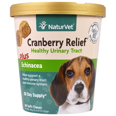 Купить Cranberry Relief для собак плюс эхинацея, 60 мягких жевательных таблеток, 6, 3 унц. (180 г)