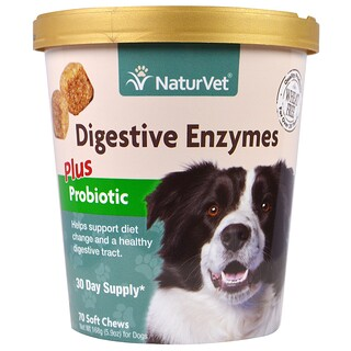 NaturVet, Digestive Enzymes, Plus Pre and Probiotic, 70 Soft Chews, 5.9 oz (168 g)