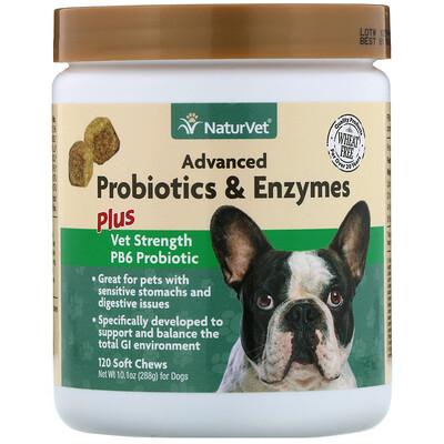 Купить NaturVet Улучшенные пробиотики и ферменты, а также пробиотик Vet Strength PB6 для собак, 120 жевательных таблеток