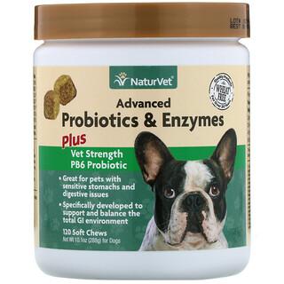 NaturVet, Advanced Probiotics and Enzymes, Plus Vet Strength PB6 Probiotic for Dogs, 120 Soft Chews